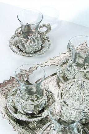 طقم شاي 6 اشخاص - فضي مرصّع بالالماس واللؤلؤ