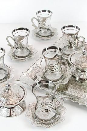 طقم شاي 6 اشخاص - فضي منقش
