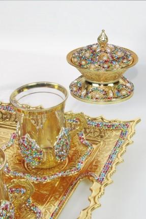 طقم شاي 6 اشخاص - مرصّع بالالماس الملون