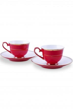 طقم فناجين قهوة / 2 شخص - 4 قطع / احمر