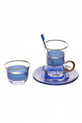 طقم شاي / 6 اشخاص - 24 قطعة / ازرق