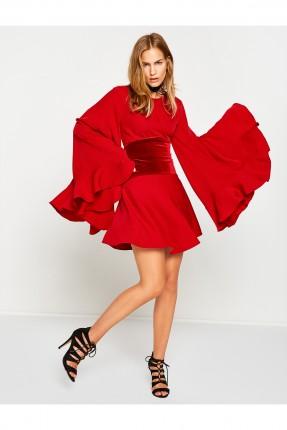 فستان باكمام واسعة - احمر