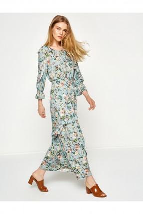 فستان طويل مع نقشات الورد