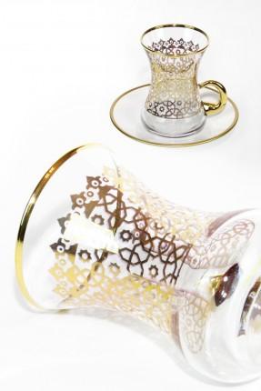 اطقم شاي 6 اشخاص - مزخرف ذهبي