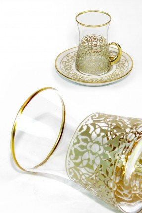 طقم شاي 6 اشخاص - ذهبي مزخرف