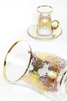 طقم شاي 6 اشخاص - مزخرف ذهبي