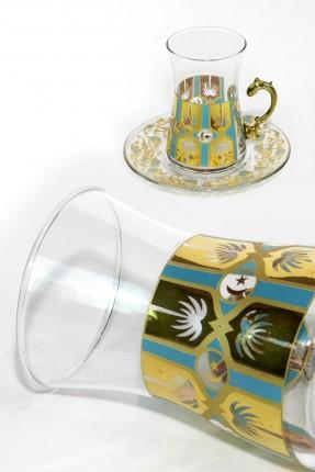 طقم شاي 12 شخص - مزخرف ذهبي (تركواز)