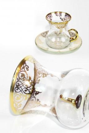 طقم شاي 12 شخص - مزخرف ذهبي