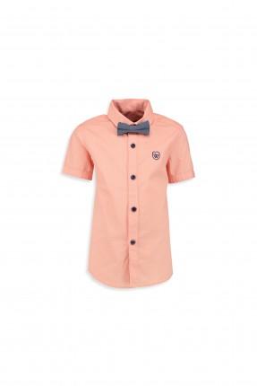قميص اطفال ولادي  مع بابيون - وردي