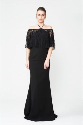 فستان نسائي رسمي مع كشكش - اسود