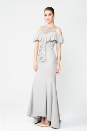 فستان نسائي رسمي مع كشكش