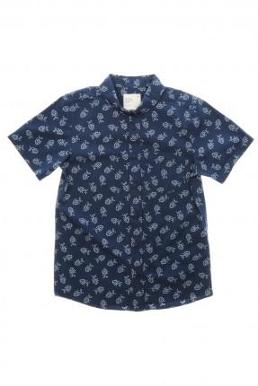 قميص اطفال ولادي منقش - ازرق داكن
