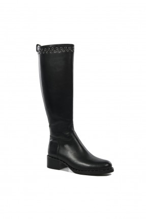 جزمة نسائية عالية الساق جلد - اسود