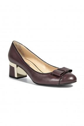 حذاء نسائي جلد مع ببيونة