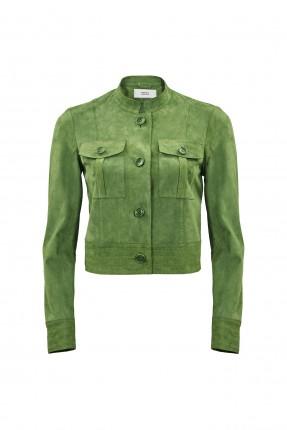 جاكيت نسائي جلد - اخضر