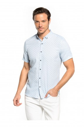 قميص رجالي مزخرف _ ازرق