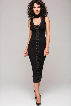 فستان سبور مع ربطات - اسود