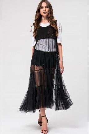 فستان لانجري شيفون - اسود