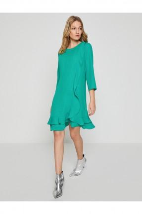 فستان ياقة مدورة _ اخضر