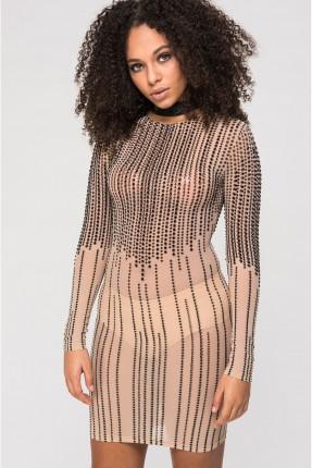 فستان سبور مزين بستراس