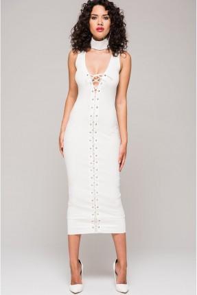 فستان سبور مع ربطات - ابيض