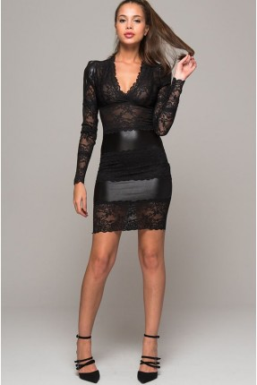 فستان رسمي دانتيل بياقة v - اسود