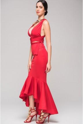 تنورة طويلة مع كشكش - احمر