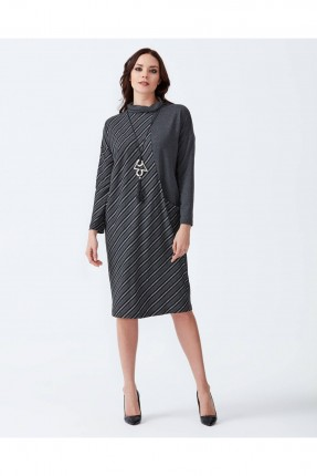 فستان نسائي مخطط _ رمادي