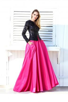 فستان طويل انيق _ فوشي واسود