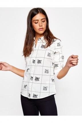 قميص نسائي قطن  منقوش