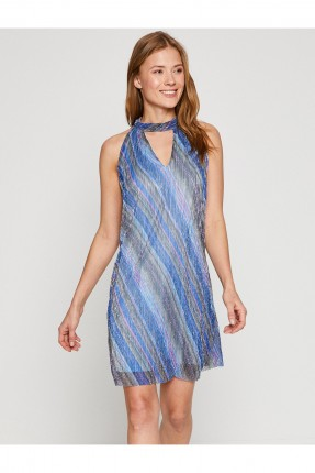 فستان قصير شيفون مخطط _ ازرق