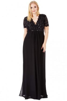 فستان دانتيل مع شك - اسود