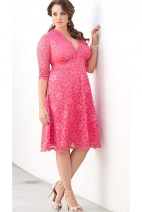 فستان دانتيل مفتوح من الامام - زهري