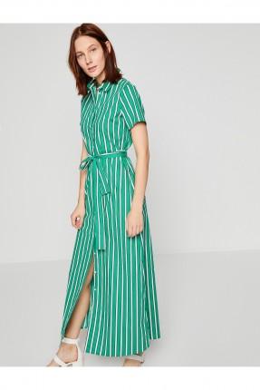 فستان طويل مخطط مع حزام _ اخضر