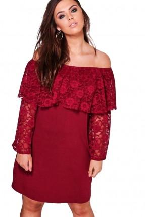 فستان بدون اكتاف دانتيل - خمري