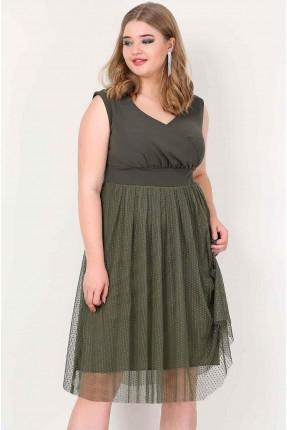 فستان حفر  شيفون - زيتي