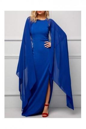 فستان باكمام شيفون طويلة
