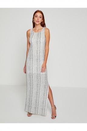 فستان نسائي طويل مخطط مع فتحة