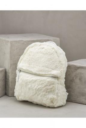 حقيبة ظهر نسائية فرو - ابيض