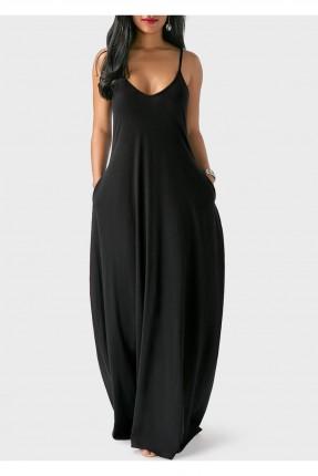 فستان طويل بروتيل - اسود