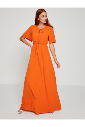 فستان نسائي طويل نصف كم _ برتقالي