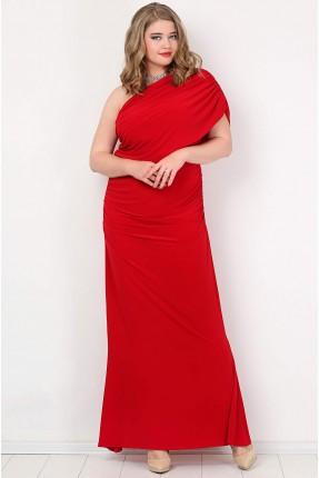 فستان بكتف واحد طويل - احمر