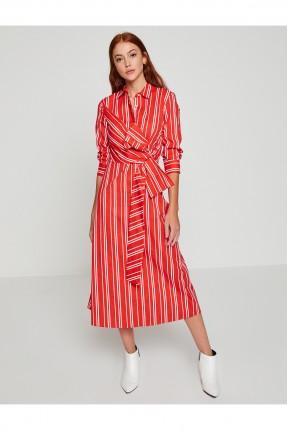 فستان نسائي مخطط مع ربطة عند الخصر _ احمر