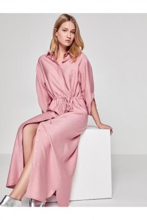 فستان طويل ناعم و مزموم  _ وردي