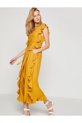 فستان نسائي طويل موديل كشاكش مع حزام