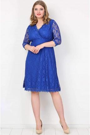 فستان دانتيل مفتوح بكمام شفافة - ازرق