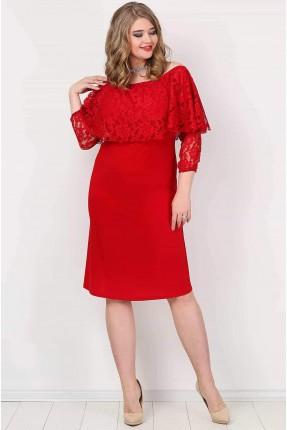 فستان مفتوح الاكتاف دانتيل - احمر