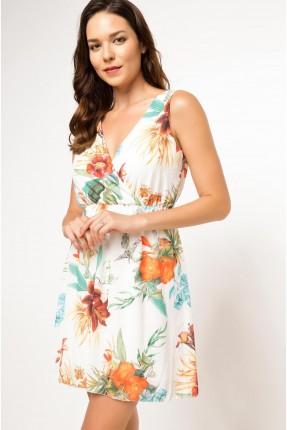 فستان سبور مزهر - ابيض