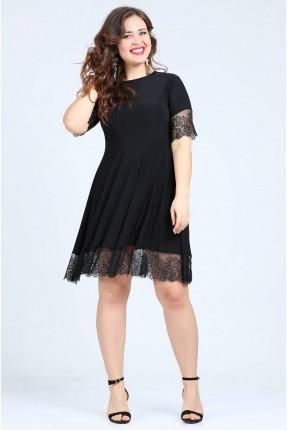 فستان قصير الاطراف دانتيل - اسود