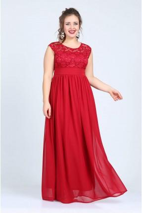 فستان دانتيل حفر - احمر